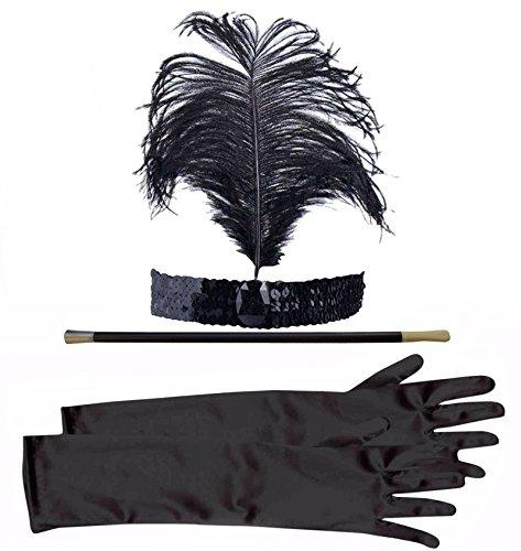 1920er Jahre, Flapper oder Gangsterbraut-Kostüm mit Stirnband, Zigarettenspitze u.Handschuhen