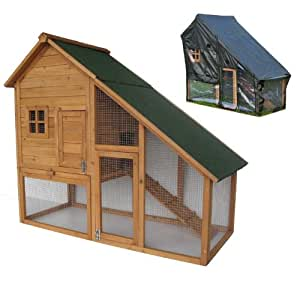 BUNNY BUSINESS Mini Lodge Double Decker Rabbit/ Guinea Pig Hutch and Run with Deluxe Cover