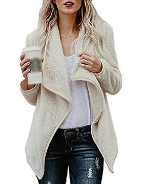 La Mujer Casual Llano Frente Abierto Invierno Polar Forrado Tweed Coat Outerwear