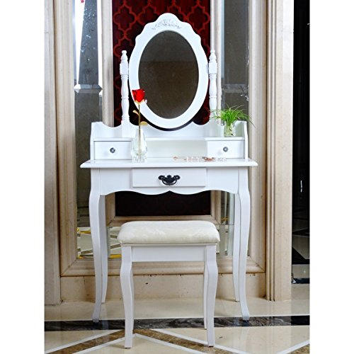 Elegant White Dressing Table, Oval Mirror U0026 Stool ...
