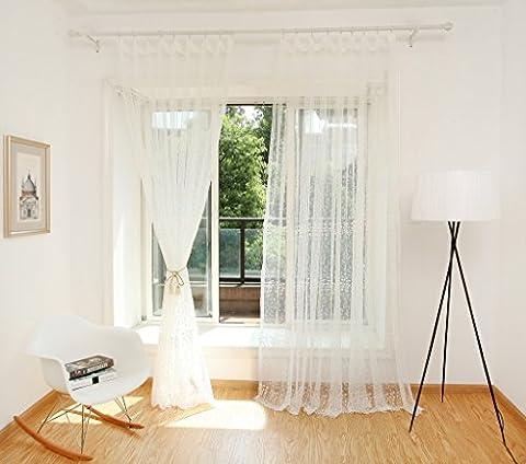 GWELL 1 pc Voilage Rideau Panneau de Fenêtre Porte Double