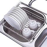 ZHIJINLI Ablaufkorb Küche Rack 304 Edelstahl Geschirrkorb Obst und Gemüse Küche liefert Lagerregal Waschbecken Waschen Korb Obstschale Ablauf Rack