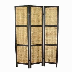 Paravent Raumteiler 3 teilig Holz Lamellen Homestyle4u 1364 Braun