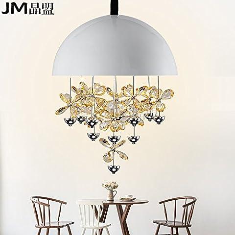 Tytk Il nuovoIl LedIl ristorante è luminoso lampadari di cristallo sala da pranzo luminosa personalità rotondo moderno minimalista singola testa lampadari luminosi con tavolo da pranzoTappo biancoPiccolo/Diametro35cm,Bianco diametro