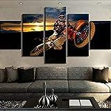 XLST 5 Panneau Toile Art Motocross Voiture Sport Affiche peintures sur Toile Mur Art pour décorations pour la Maison,B,20X35X220X45X220X55X1