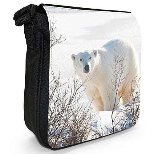 Orsi polari piccolo nero Tela Borsa a tracolla, taglia S Polar Bear in Branches & Snow