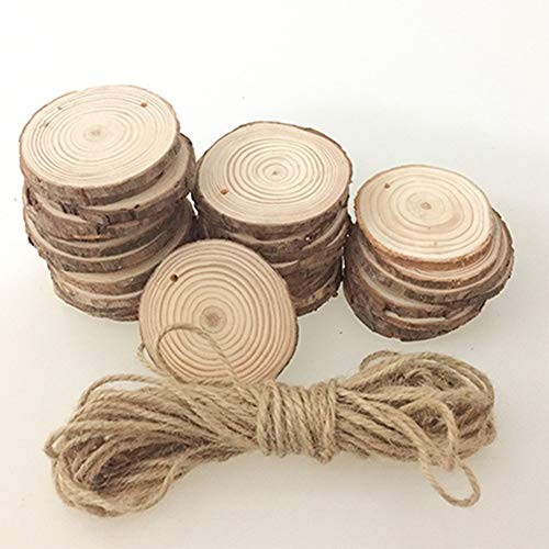 Egurs Holzscheiben 30 Stücke Holz Log Scheiben und 33ft Nnatürliche Jute Seil für DIY Handwerk Holz-Scheiben Hochzeit Mittelstücke Weihnachten Dekoration Baumscheibe 8-9cm
