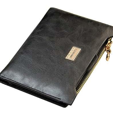 Lady Black Genuine Leather Bifold Zipper Wallet Credit Cards Holder Slim Purse