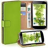 Cover OneFlow per LG Google Nexus 4 Custodia con scomparti documenti   Flip Case Astuccio Cover per cellulare apribile   Custodia cellulare Cover rotettiva Accessori Cellulare protezione Paraurti LIME-GREEN