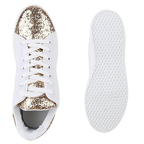 Sportliche Damen Sneakers | Sneaker Low Metallic Lack | Turnschuhe Muster Glitzer | Retro Flats Schnürer | Animalprints Veloursleder-Optik Gold Gold Glitzer
