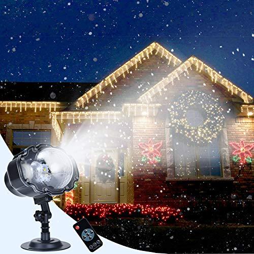 Soontrans LED Projektionslampe Schneefall Effekt mit Fernbedienung LED Projektor Weihnachten Wasserdicht IP65 Weihnachtsbeleuchtung Außen zum Party Hochzeit