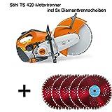 Stihl TS 420 Motortrenner 3,2 kW incl 5x Diamanttrennscheiben Trennschleifer