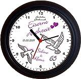 Lucky Clocks Tauben zur EISERNEN Hochzeit 65. Hochzeitstag lila Wanduhren für Jeden Anlass mit jeder Beschriftung und Jedem Vornamen Namen erhältlich