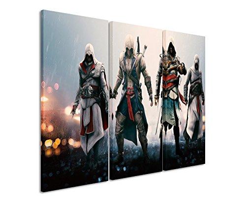 WTD 3 teilig Assassins_Creed_36_ 3 x 90 x 40 cm (totale 120 x 90 cm) _execution bella stampata su vero come quadro su telaio