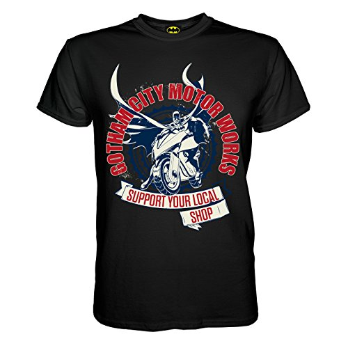 King of Merch - Herren T-Shirt - Batman Gotham City Motorcycle Works Dark Night Harley Quinn Arkam Superheld Asylum Lex Luthor Riddler Joker Venom Poison Ivy Wayne Enterprises Harvey Dent Schwarz 2XL