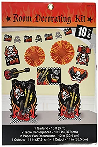 Amscan Rock On Heavy Metal Themed Party Room Decorating Kit (10 Piece), Multi Color, 15.7 x 10.8