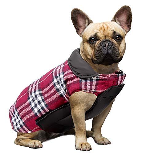 IREENUO Hund umkehrbar Schottenkaro Mantel Herbst Winter warme gemütliche Weste britischen Stil Hund gefütterte Jacke für Kleine mittlere große Hunde (XL,Rot)
