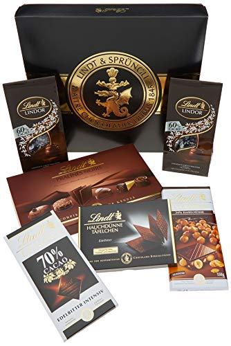 Lindt Zartbitter-Schokoladen-Geschenkbox, mitternachtsschwarze Geschenkverpackung mit goldener Lindt-Siegel-Prägung, bestückt mit einer feinen Auswahl an feinherben Chocoladen, 847g -