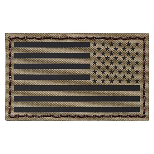 IR Big 3x5 Tan USA American Reversed Flag Right Shoulder IFF Coyote Tactical Morale Patch - Big 3x5 Flag