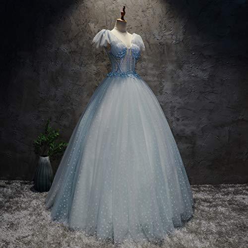 Kostüm Damen Bürgerkrieg - QAQBDBCKL Licht Blau Polka Dot Medieval Kleid Renaissance-Kleid Königin Kostüm Victorian/Marie Antoinette/Bürgerkrieg Belle Ball