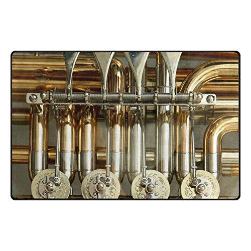 Area Rugs 24 x 16 inch Modern Soft Non-Slip Floor Mats Rotary Valves Tuba Stimmzug Brass Instrument Doormat Carpet for Home