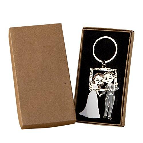 Mopec Pop & Fun Photocall Pack Schlüsselanhänger Brautpaar in Geschenkbox, Metall, Silber, 1.3x 6x 11cm, 2Stück Porta-pack-systemen