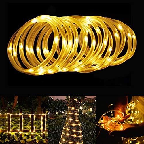tschlauch, 12M 100 LED Solar Lichterkette Außen, Automatisch An/Ausschalten Wasserdicht Solarlichterkette Außenlichterkette Weihnachtsbeleuchtung für Garten Aussen Deko(Warmweiß) ()