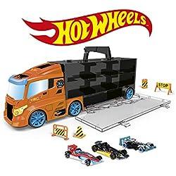 ODS- Transporter 40 Hot Wheels Camión maletín con Coche Original Incluido, Color Naranja, 42033