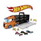 ODS- Transporter 40 Hot Wheels Camion Valigetta con Auto Originali Incluse, Colore Arancione, 42033