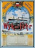Retro Wandschild Designer Schild Dampfschiff Wyk auf Föhr Deko 8x11cm Nostalgie Metal Sign A003-2