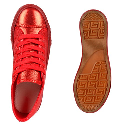 Damen Sneakers Low Sportliche Turnschuhe Freizeit Canvas Schuhe Rot