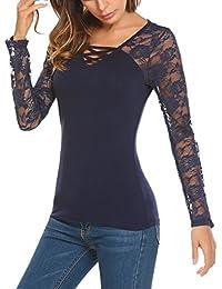 b4a490cd4266 Trudge Damen T-Shirt Spitze Lange Ärmel Elegant Lace Top Hemdblusen Blusen  Schöne Oberteile Damen