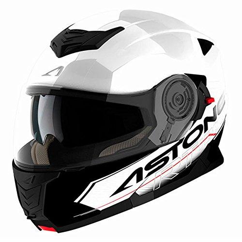 Astone rt1200casco modulable Touring blanco y negro lacado L 59–