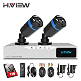 H.View HD Home Security Camera System with 1TB Hard Drive Installed, 4 Channel AHD Hybrid 1080P CCTV DVR Kit Recorder, 2PCS 2.0mp Video Surveillance Camera Night Vision Outdoor Weatherproof Support Smartphone Remote Viewing (1TB Hard Drive Installed)