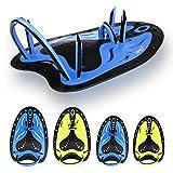 Copozz, Schwimm-Handpaddel, als Schwimmhilfe und für das Schwimmtraining, große, flache Paddel für Herren, Damen, Mädchen, Jungen, blau, Large