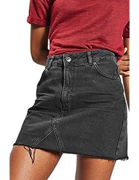 Suvotimo Mujeres Verano Casual Mini Faldas De Mezclilla Una Linea De Cintura Alta Falda De Jean