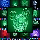 3D Lampe 3D Leuchte 3D LED Stimmungslicht. 7 Farben - 81 verschiedene Motive, hier Mickey Mouse ca.22x16cm inkl.Sockel - 3D Illusion Dekolicht mit USB Anschluß und 220V USB Netzteil