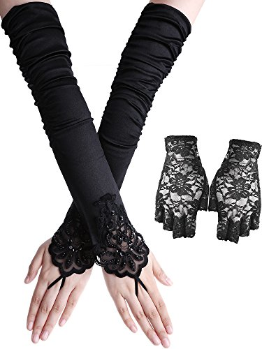UV Schutz Handschuhe Set, Fingerlose Lange Satin Spitze Handschuhe und Half Finger Floral Spitze Handschuhe für die 1980er Jahre Kostüm, Henne Nächte, Prom, Halloween ()