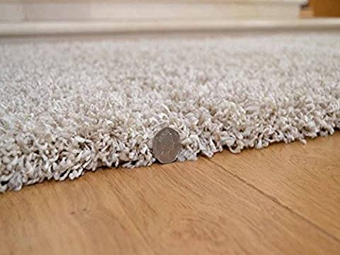 Shaggy Thick Modern Luxurious Suede Beige Rug High Pile Long Pile Soft Pile Anti Shedding Available in 8 Sizes (66cm x 120cm 2ft 2