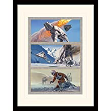 Star Wars - Batalla En El Planeta Helado De Hoth, Caminantes AT-AT Póster De Colección Enmarcado (40 x 30cm)