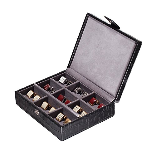 Jewelry/Schatulle in Schwarz Leder Croc Finish für die Reise oder Home -