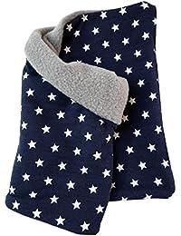 WOLLHUHN Warmes Halstuch, Schlupfschal, dunkelblau mit weißen Ministernchen, Jungen und Mädchen, Innenseite Fleece grau, 20141116