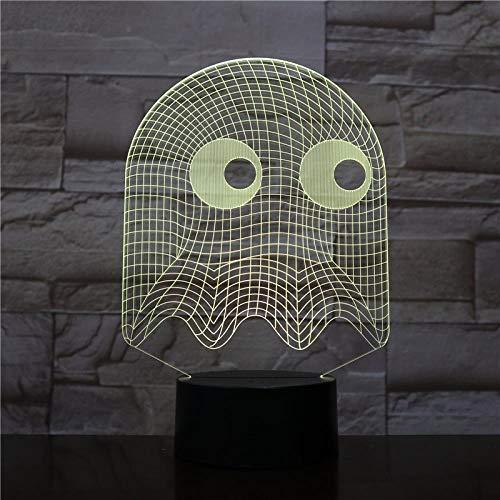 (HLDWMX) 3D Nachtlicht Männer Schreibtischlampe Dekoration Lampe Schlafzimmer Fantasie Kinder blinkende Tinte LED Touch + Fernbedienung 7 Farbe Nachtlicht Pac Lighting Kit