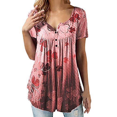 Kviklo Damen Top T-Shirt DREI Blätter Gras Halber Knopf O-Ausschnitt Kurzarm Tee Lose Bluse(M(38),Rot)