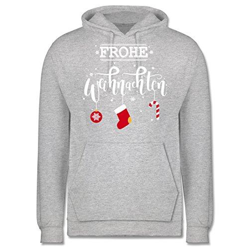 Weihnachten & Silvester - Frohe Weihnachten Lettering - Männer Premium Kapuzenpullover / Hoodie Grau Meliert