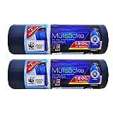 Öko Müllsäcke - 120 Liter (20 Stück) - Extra Reißfest & Flüssigkeitsdicht - 2er Pack (2 x 10 Stück) - Für Hauhalt, Büro und Garten - Blauer Engel Zertifikat