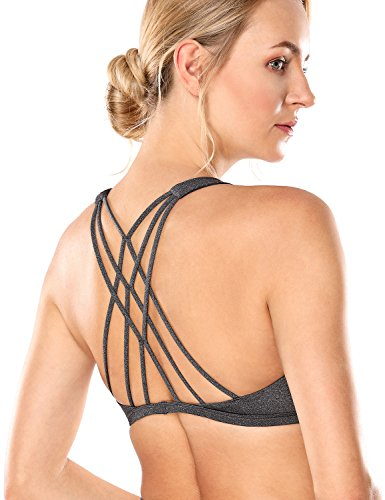 CRZ YOGA Damen Yoga Sport BH - Abnehmbare Padded,Überkreuzte Träger Charcoal heather S (Sport Heather)