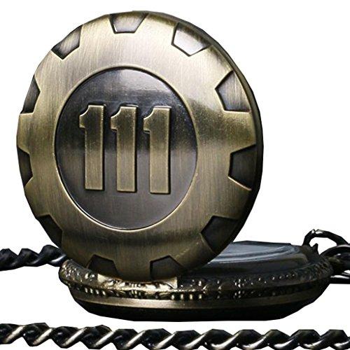 CICIYONER 1 PC Herren Retro Sinnvolle Anhänger Gewölbe 111 Bronze Quarz Kette Legierung Taschenuhr (Cowboy-mini-taste)