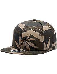 Wuke Sombrero de Snapback Unisex para Parejas Gamuflaje de Hojas Gorro Plano  Color Caqui Tamaño ajustable 0bc50ed7929