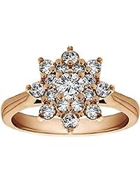 Silvernshine 0.49 Carat White Cubic Zirconia Diamond 10k Rose Gold Filled Cluster Wedding Ring